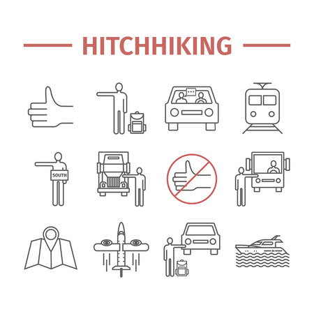 Hitchhiking line icons set. Hitchhiker. Vector travel sign Illustration