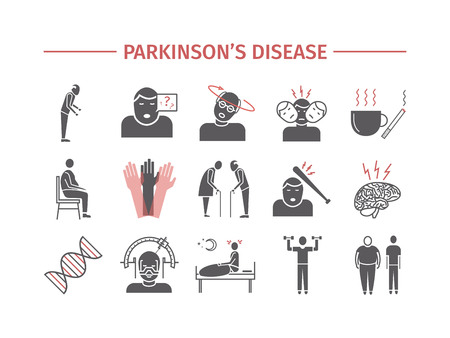 Parkinsons disease. Symptoms, Treatment. Flat icons set. Vector signs for web graphics. Ilustração