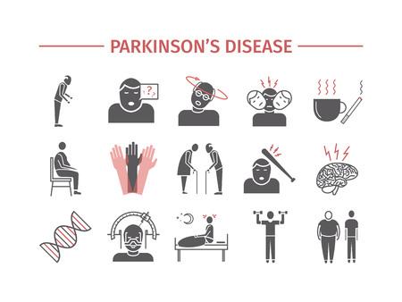 Ziekte van Parkinson. Symptomen, behandeling. Plat pictogrammen instellen. Vector tekenen voor webafbeeldingen.