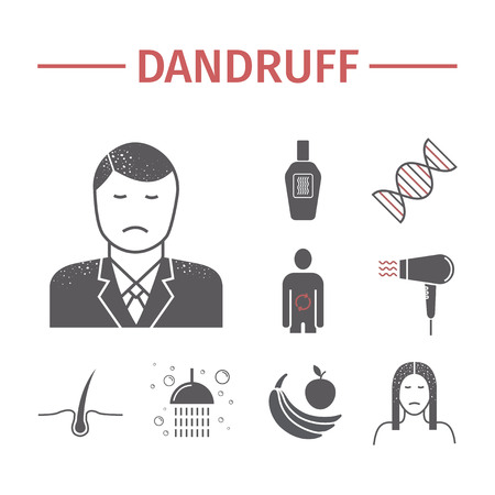 Dandruff flat icons set. Vector Illustration
