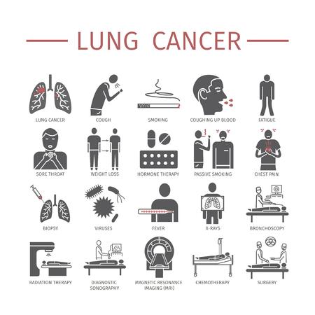 Cáncer de pulmón. Síntomas, causas, tratamiento. Iconos planos establecidos. Vector signos para gráficos web.