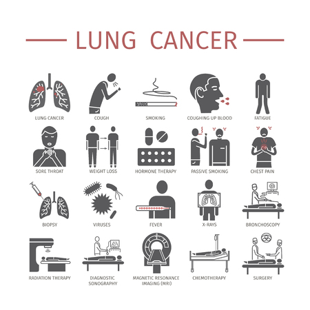 Lung Cancer. Symptoms, Causes, Treatment. Flat icons set. Vector signs for web graphics.