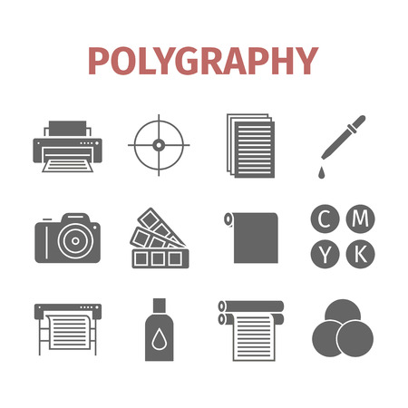 Polygraphy icons set. Vector infographic Illustration