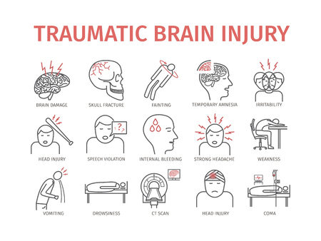 Traumatic brain injury line icon. Head Injury Treatment. Vector signs for web graphics.