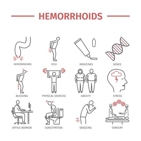 Ikona linii hemoroidy Infografiki. Znaki wektorowe dla grafiki internetowej.