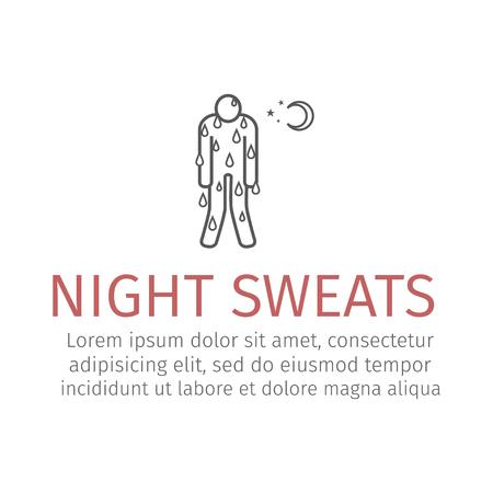 Night Sweats line icon. Vector Stock Photo