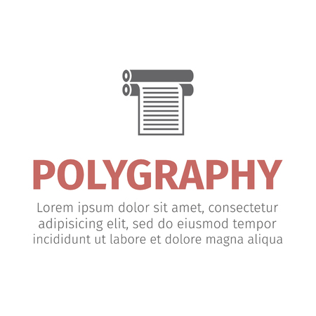 Plotter with roll of paper. Logo design for the printing industry. Vector icon. Illustration