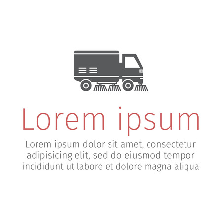 Street sweeper truck flat icon
