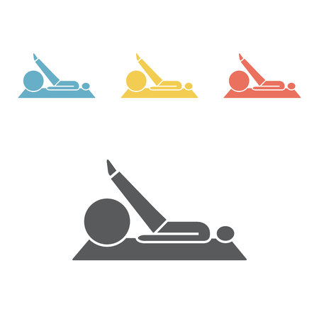 Stretching fitness exercise on ball. Flat icon
