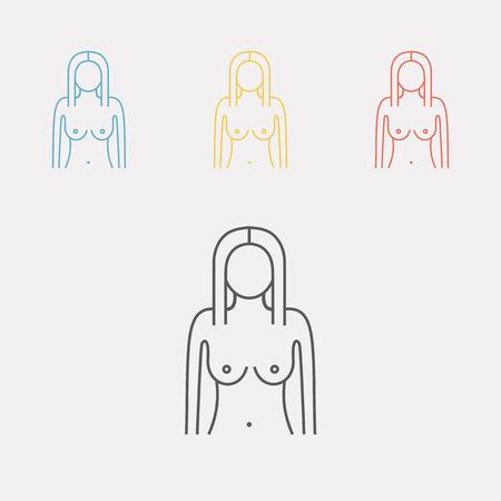 Womans figure. Silhouettes. Line icon. Vector illustration