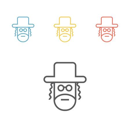 Orthodox jew line icon