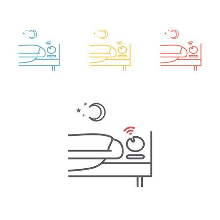 snoring man line icon