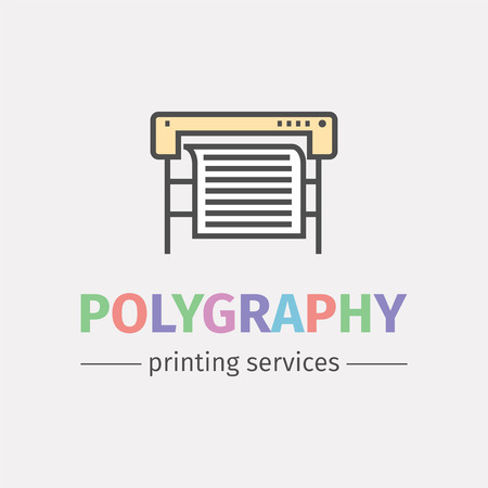 Plotter with roll of paper. Logo design for the printing industry. Vector line icon. Stock Photo