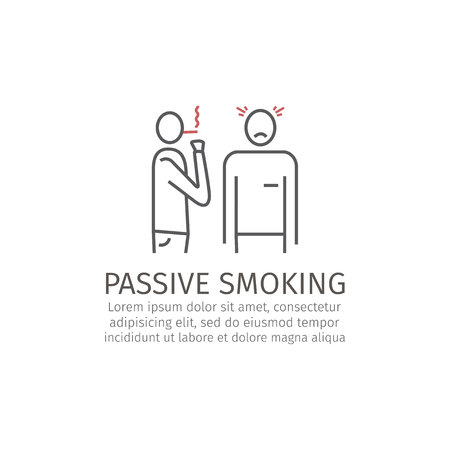 Passive smoking line icon Stock Photo