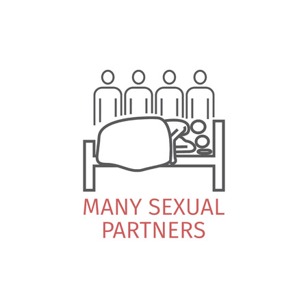 many partners sexual line icon 矢量图像