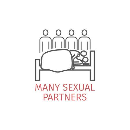 Molti partner icona linea sessuale Archivio Fotografico - 90154094