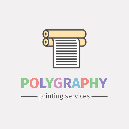 Plotter with roll of paper. icon design for the printing industry. Vector line icon.