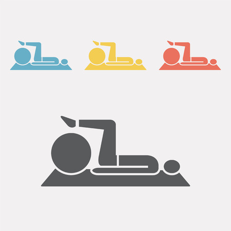 Stretching fitness exercise on ball. Flat icon vector illustration.