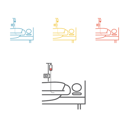 Hospital bed line icon vector illustration