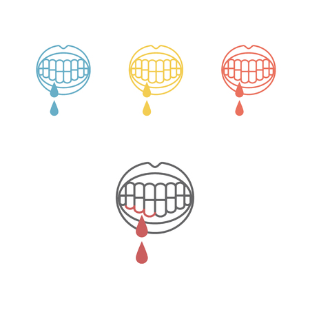 Bleeding gums line icons Vector illustration. Illustration