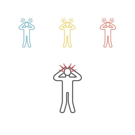 Panic disorder line icon vector illustration set Illustration