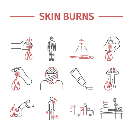 Skin Burns line icons and Treatment Vector illustration set