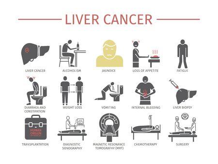 Liver Cancer Symptoms Flat icons set vector illustration