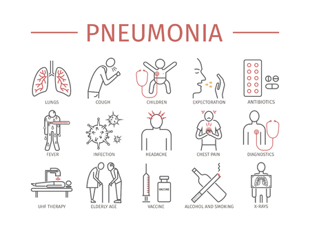 Pneumonia Symptoms and Treatment Line icons set Stock Illustratie