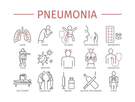 Pneumonia Symptoms and Treatment Line icons set Vettoriali