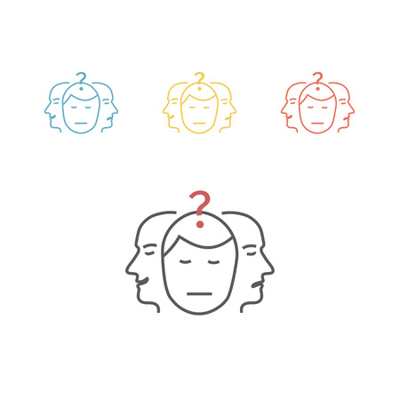 Vector sign dual personality icon set Vectores