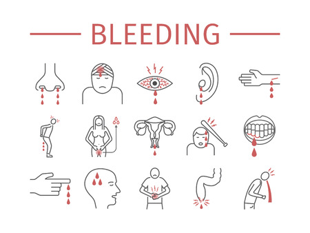 Bleeding line icons set vector illustration