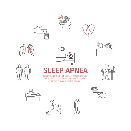 Sleep Apnea round banner. Symptoms, Treatment. Line icons. Vector signs for web graphics. Banque d'images