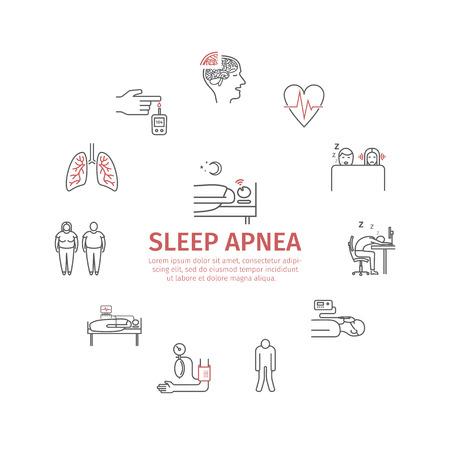 Sleep Apnea round banner. Symptoms, Treatment. Line icons. Vector signs for web graphics. Stock Photo