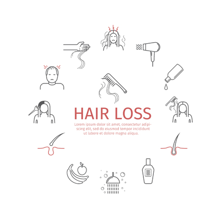 Hair Loss line icons set. Vector signs. 版權商用圖片 - 91375892
