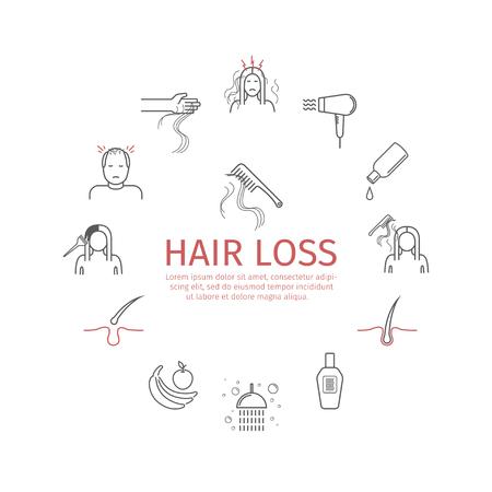 Set di icone linea perdita dei capelli. Segni vettoriali.