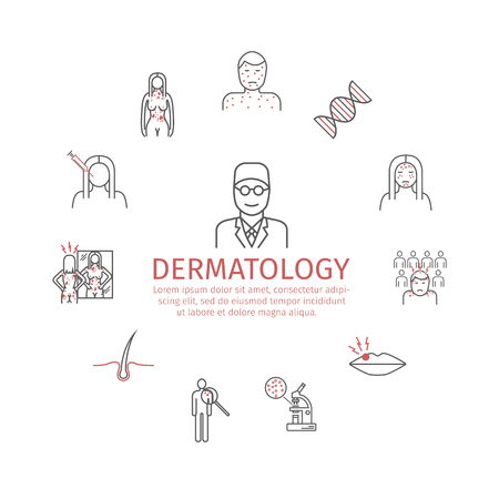 Dermatology banner. Line icons set. Vector signs for web graphics. Vectores