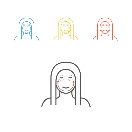 Cosmetic surgery line icon. Woman face. Vector illustration