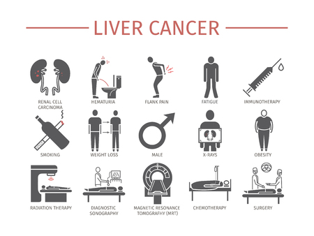 Kidney Cancer Symptoms. Causes. Diagnostics. Flat icons set. Illustration