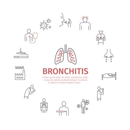 Bronchitis. Symptoms, Treatment. Line icons set.