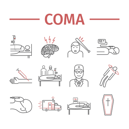 Man in a coma. Hospital bed. Infographic line icons. Vector Illustration