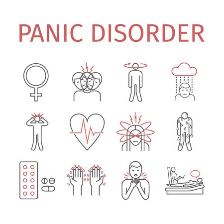 Panic disorder line icon info graphic vector illustration. Vettoriali
