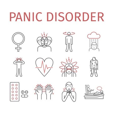 Panic disorder line icon info graphic vector illustration. Çizim