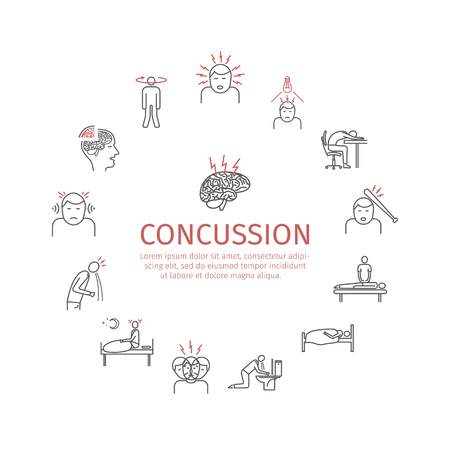 Concussion. Symptoms in Line icons set. Vector signs for web graphics. Иллюстрация