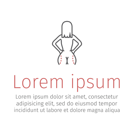 Liposuction of hips and thighs. Plastic surgery line icon. Vector illustration
