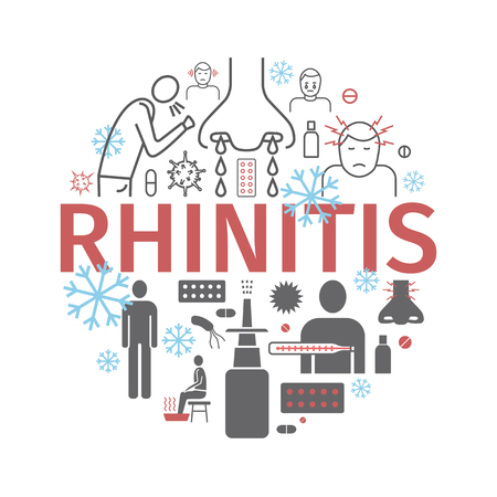 Rhinitis. Symptoms, Treatment. Line icons set. Vector signs for web graphics Illustration