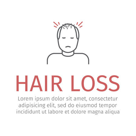 Hair Loss line Vector sign for web graphic.
