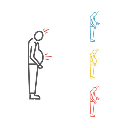 Abdominal distention line icon. Vector icon for web graphic.
