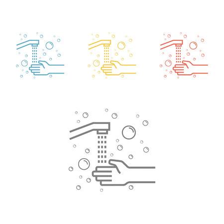 衛生ラインアイコン ウェブグラフィック用の手ベクトルアイコンを洗います。 写真素材 - 94146040