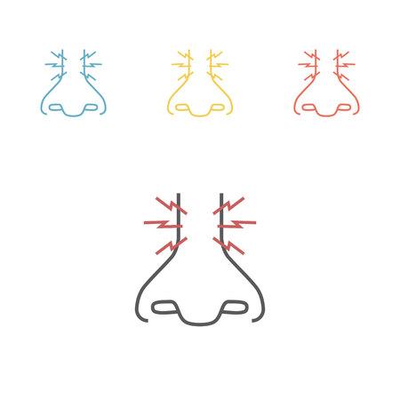 Jeukende neus. Vector pictogram voor webafbeelding.