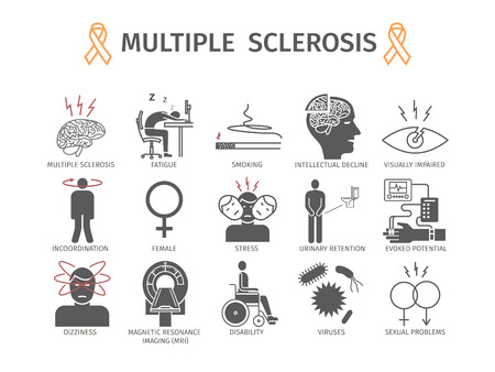 Multiple sclerosis. Symptoms, Causes, Treatment. Flat icons set. Vector signs for web graphics. Vettoriali